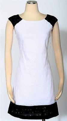 SANGRIA Black White Shift Dress Size 10 Cotton Women's Casual *