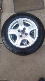 """4 x 14"""" alloys great condition, silver and good tyres with a lot of tread"""