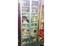Shelved glass counter on wheels, Tall double glass door shelved cabinet, filing cabibet no key.etc.