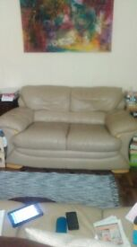 Sofa and stool beige/taupe real leather 250.00