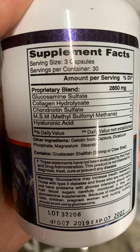 #1 Colageno Glucosamina Condroitina Acido Hialuronico Alivia Articulaciones 2850 3