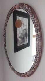 Mirror Oval w/ Seashell Border + Agate Stone