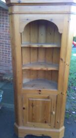Solid Pine corner unit , open shelves with base cupboard