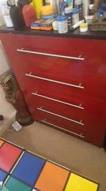 Chest of Drawers Red.