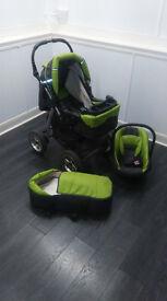 Baby merc pram in light green.