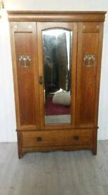 Vintage Oak Inlaid Wardrobe with Mirror