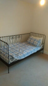 ikea black wrought iron daybed with mattress
