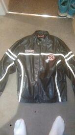 Men's Faux Leather Biker Jacket - Large