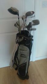 Used mixed golf clubs and Slazenger golf bag