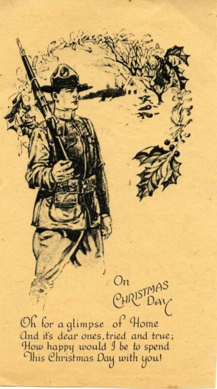 CHRISTMAS 1917 U.S. FIELD PRINTED CHRISTMAS CARD - RARE - REF2912Q