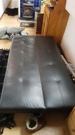 Black fake leather fold down sofa bed