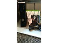 xbox 360 slim plus 10 games