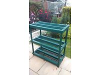3 tier heavy duty plastic potting table/staging/bench 100 high x 90wide x 45width cms