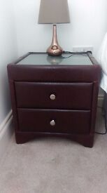 2 x leather bedside tables