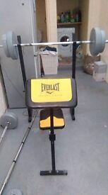 Everlast bench and vinyl weights