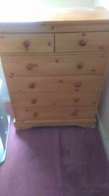 Pine effect chest of draws