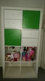 STORAGE UNIT with drawers and doors. white. good condition