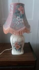 Vintage retro ceramic table lamp with fabric shade