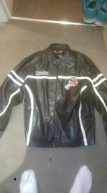 Men's PVC Leather Biker Jacket - Large