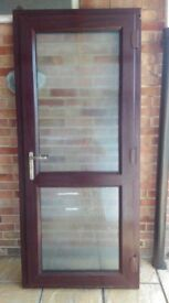 Rosewood UPVC Double Glazed back door Ex Cond 2030 mm not including cill by 890mm, 7 point locking.