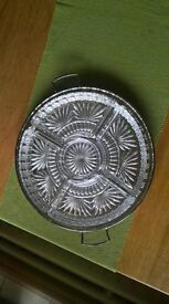 Cut Glass serving dishes or Hors D'oeuvres dishes fitting onto a silver plated tray