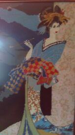 Large framed geisha girl needlepoint tapestry