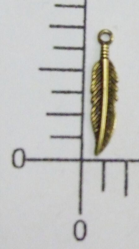 39083        6 Pc Brass Oxidized Small  Feather Charm Jewelry Finding