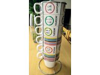 Colorful stacking mugs with stand