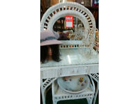 Small White Wicker Dressing Table , Mirror and Stool