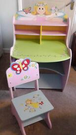 Children's Wooden Fairy Desk and Chair