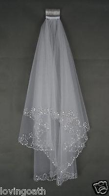 Elegant Kristall Kurz Schleier Weiß Elfenbein Brautschleier+ Kamm 2-Schicht 80cm
