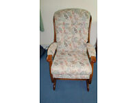 Upholstered and sprung rocking chair, hardly used. Cost £250 new. Sale due to move to care home.