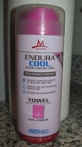 Endura Cool Instant Cooling Towel, by Mission, Large,Pink, 20% Larger 13 x 37""