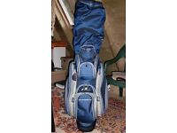Golfing Equipment Bag, Irons, Woods and Trolley in good condition