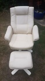 Reclining cream faux leather chair and foot stool