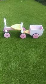 Wooden Ride-On Bike with Trailer