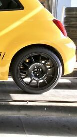 Oz 4 x 100 Leggenda Alloy wheels Abarth 595 - Black (Set of 4 inc tyres)
