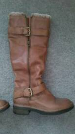 Ladies dune knee high boots in soft chestnut brown leather - nearly new, size uk4