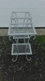 Set of two metal & glass side table's