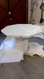 As new Octagonal marble dining table 110cm diameter, seats 4 comfortably, selling due to house move