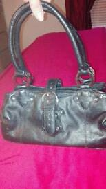Black small leather handbag