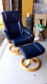 Blue leather recliner chair & footstool