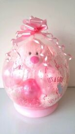 "Large Its a girl pink teddy in a 18"" stuffed balloon for new born baby gift idea present"