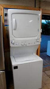 WORKING GE STACKED WASHER AND DRYER-- 27 WIDE -FULL SIZE UNIT