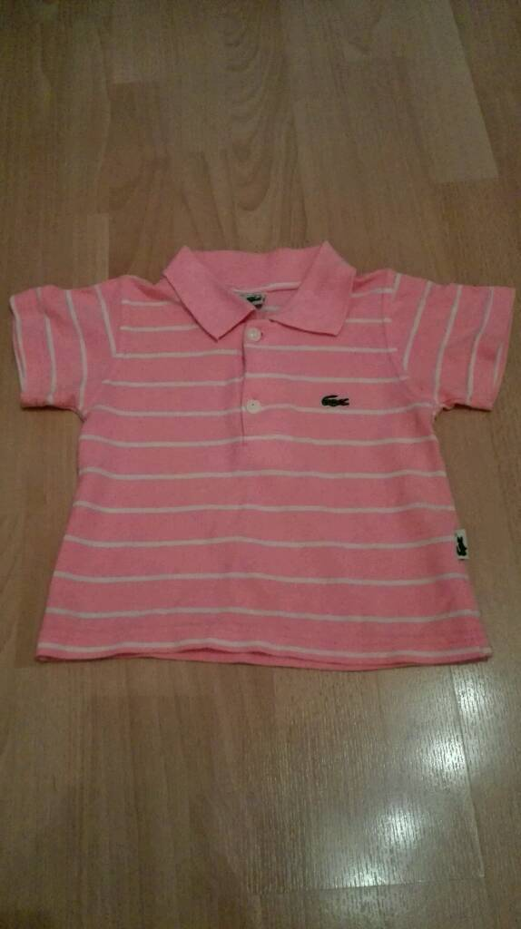 ad6a937a2 ... official lacoste childs pink white striped polo shirt d79b3 1c5e6