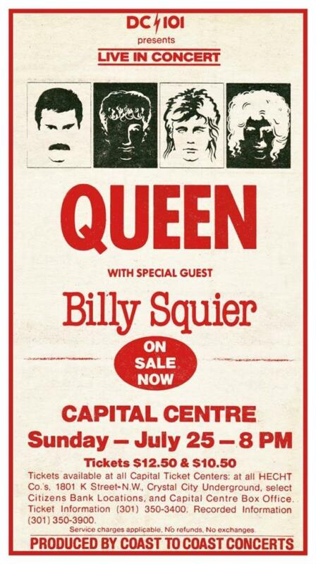Queen - POSTER - Live in Concert print Billy Squier 1982 Maryland -  Hot Space