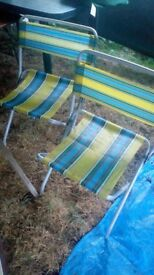 2 folding camping chairs