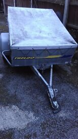 Trelgo tipping trailer with cover and spare wheel