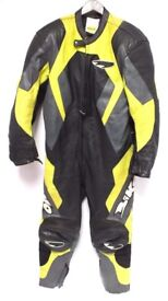 BIKO Genuine Leather Black Yellow Motorcycle All In one suit Size 46