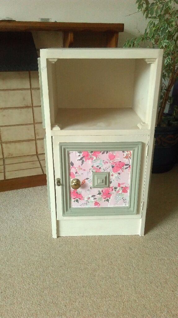 Bedside table, detailed in design and decoratedin Plymouth, DevonGumtree - Already has been decorated but could do with freshening up. Pretty in detail of wooden panels and key to lockk cupboard